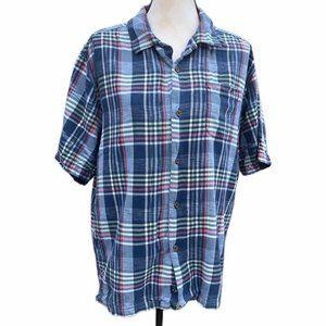 Tommy Bahama Blue Shirt Silk Short Sleeve sz L